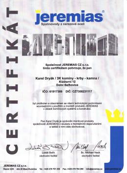 Certifikát montáží komínů Jeremias - 3K komíny - krby