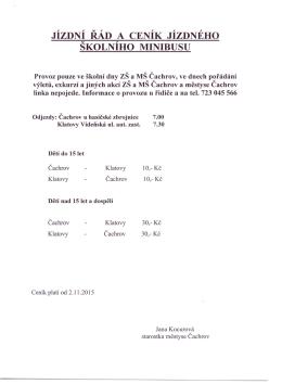Jízdní řád a ceník jízdného školního minibusu