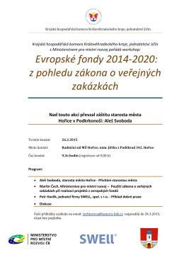 Evropské fondy 2014-2020: z pohledu zákona o veřejných zakázkách