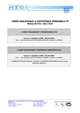 CENÍK KVALIFIKACE A CERTIFIKACE PERSONÁLU VT
