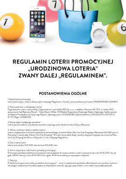 regulamin loterii promocyjnej