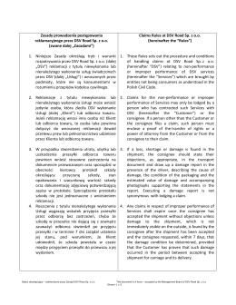 Zasady postępowania reklamacyjnego / Claims Rules at DSV