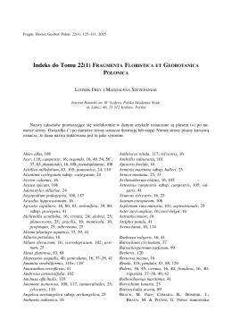 Indeks do Tomu 22(1) - Instytut Botaniki PAN