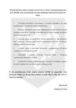 Warunki minimum zmian w projekcie nowej Ustawy o Broni i