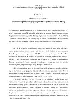 Projekt ustawy o wzmocnieniu przemysłowego potencjału