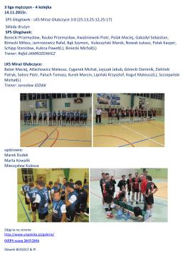 3 liga mężczyzn - 4 kolejka 14.11.2015r. SPS