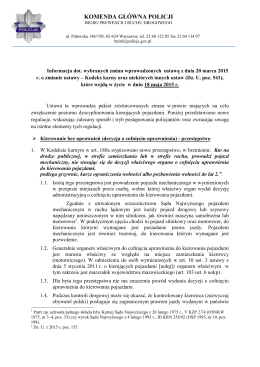 Informacja dot. wybranych zmian wprowadzonych ustawą z dnia 20
