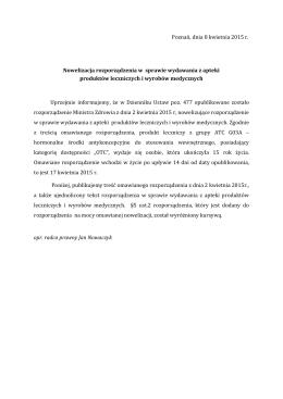 Poznań, dnia 8 kwietnia 2015 r. Nowelizacja rozporządzenia w