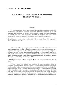 Gołębiewski G., Policjanci i pocztowcy w obronie Płocka w 1920 r.
