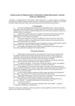Regulaminu Rekrutacji do SMM - Studium Medycyny Molekularnej