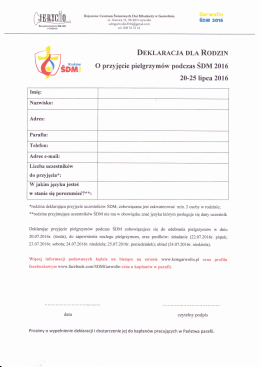 formularz ⇒ deklaracja dla rodzin