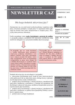 Newsletter CAZ 05/2015, Czerwiec 2015r.