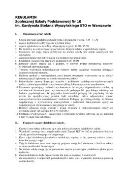 REGULAMIN Społecznej Szkoły Podstawowej Nr 10 im. Kardynała