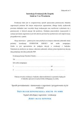 Instrukcja Ewakuacji dla Zespolu Szkół nr 3