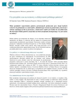 Czy przyjdzie czas na rozmowy o efektywności polskiego