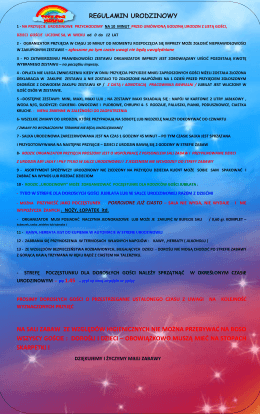 regulamin urodzinowy - Sala Zabaw dla Dzieci Tęczowa Planeta