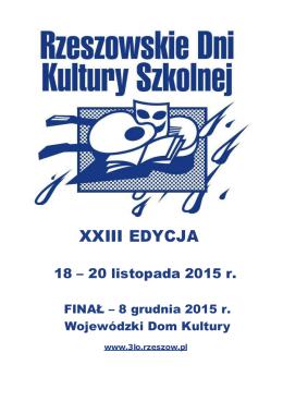 Regulamin XXIII RDKS 2015 - Młodzieżowy Dom Kultury w Rzeszowie