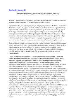 Bartłomiej Kozłowski Internet bezpieczny, czy wolny? (a może i taki