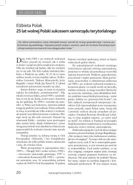 Elżbieta Polak 25 lat wolnej Polski sukcesem samorządu