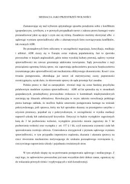 Mediacja jako przestrzeń wolności. adw. Joanna Wsołek