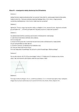 Rozwiązania należy przekazać do 27.04.15r. Klasa III Zadanie 1