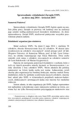 Sprawozdanie z działalności Zarządu SNPL za okres maj 2014