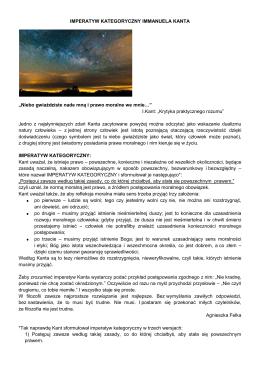 """IMPERATYW KATEGORYCZNY IMMANUELA KANTA """"Niebo"""