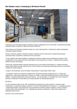 Eko-System rusza z inwestycją w Browarze Poznań