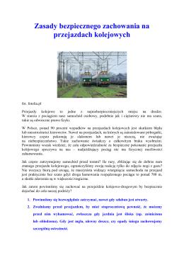 Zasady bezpiecznego zachowania na przejazdach kolejowych