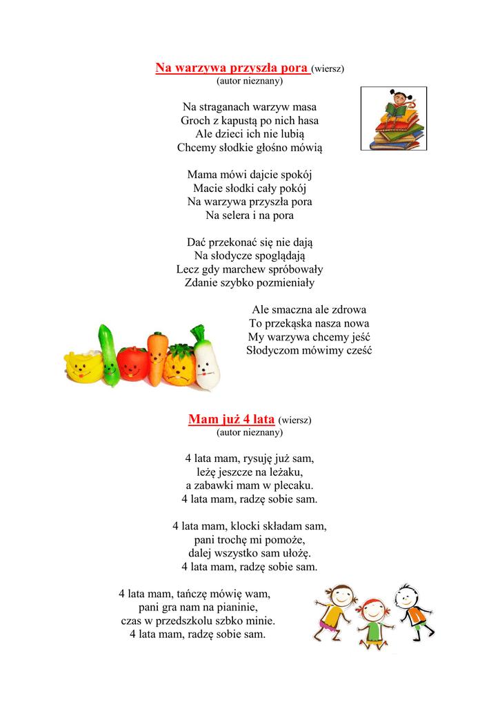 Na Warzywa Przyszła Pora Wiersz Mam Już 4 Lata