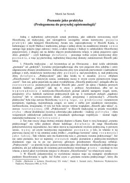 Poznanie jako praktyka (Prolegomena do przyszłej epistemologii)