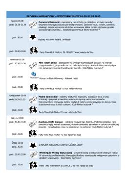program animacyjny – wieczorny show 01.08-31.08