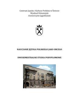 opis - I semestr 2015/2016 - Centrum Języka i Kultury Polskiej w