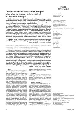 Ocena stosowania fondaparynuksu jako alternatywnej metody