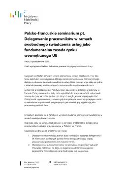 Tekst wystąpienia Prezesa IMP - Stefana Schwarza na polsko