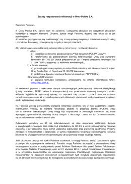 Zasady rozpatrywania reklamacji w Oney Polska S.A.