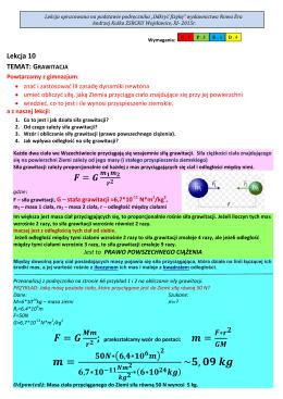 Lekcja 10 TEMAT: GRAWITACJA