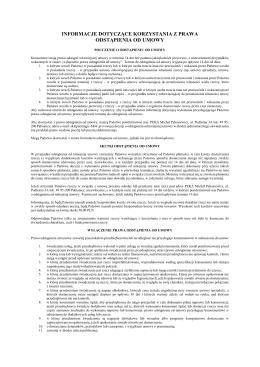informacje dotyczące korzystania z prawa odstąpienia