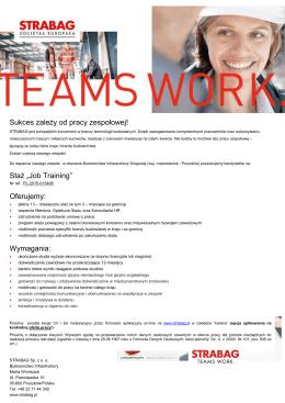 """Sukces zależy od pracy zespołowej! Staż """"Job Training"""" Oferujemy"""