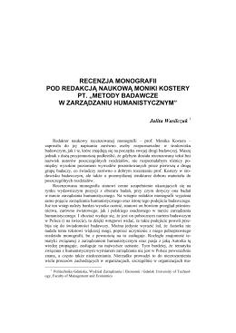 Recenzja monografii pod redakcją naukową Moniki Kostery pt