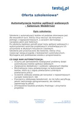 Oferta - profesjonalne szkolenia dla testerów oprogramowania