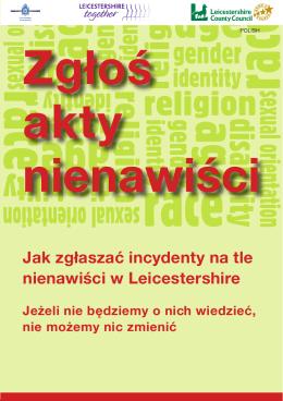 Jak zgłaszać incydenty na tle nienawiści w Leicestershire