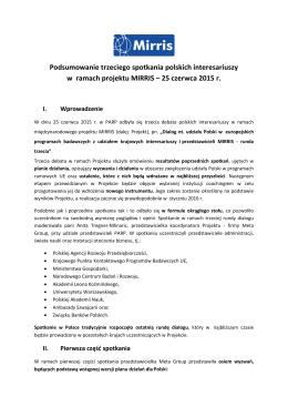 III-go spotkania polskich interesariuszy