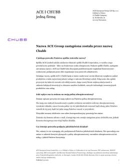 ACE I CHUBB jedną firmą