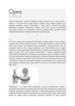 Portret Krzysztofa Warlikowskiego, Opera Online