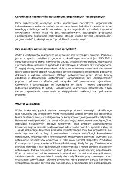 Certyfikacja kosmetyków naturalnych, organicznych i ekologicznych