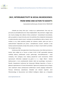 self, intersubjectivity & social neuroscience: from mind and action to