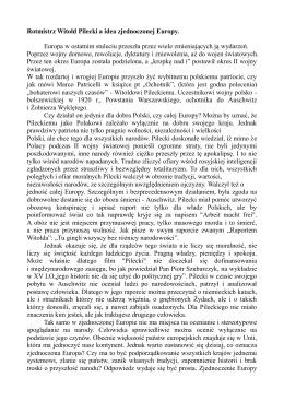 Rotmistrz Witold Pilecki a idea zjednoczonej Europy. Europa w