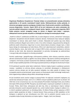 Zdrowie pod lupą OECD - Infarma Związek Pracodawców