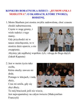"""KONKURS RORATNI DLA DZIECI - """"RYMOWANKA I MODLITWA"""